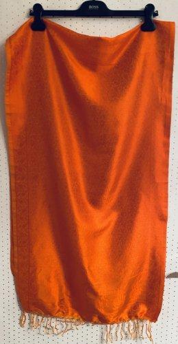 Écharpe en soie orange-orange foncé soie