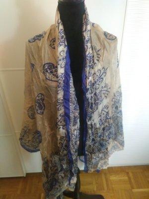 Hallhuber Bufanda de seda azul-beige claro