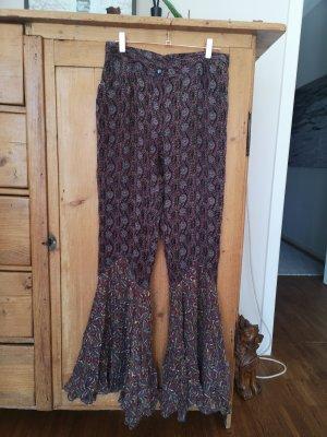 Anna Sui Pantalon pattes d'éléphant multicolore soie