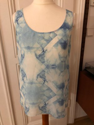American Vintage Blouse en soie bleu-blanc soie