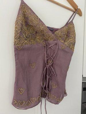 Hale Bob Batik Shirt mauve-sand brown silk