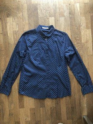Seidensticker blaue Bluse mit weißen Punkten Rundkragen