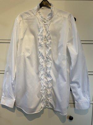 Seidensticker Bluse Größe 44 weiß Rüsche wie neu