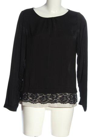 Seidensticker Blusa de manga larga negro-blanco puro elegante