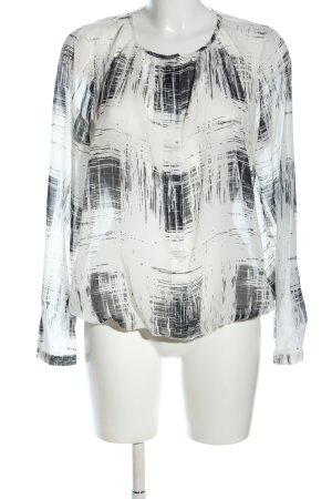 Seidensticker Langarm-Bluse weiß-schwarz abstraktes Muster Casual-Look