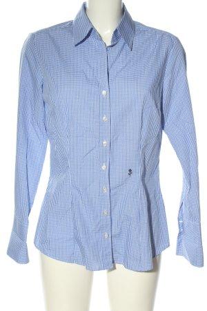 Seidensticker Langarm-Bluse blau-weiß Allover-Druck Business-Look