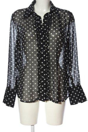 Seidensticker Langarmhemd schwarz-weiß Punktemuster Casual-Look