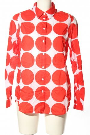Seidensticker Langarmhemd weiß-rot Punktemuster Casual-Look