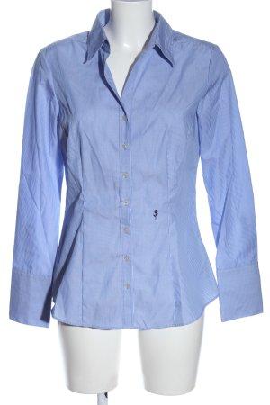 Seidensticker Langarmhemd blau-weiß Schriftzug gestickt Casual-Look