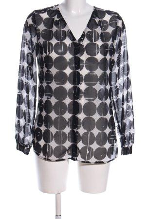 Seidensticker Transparenz-Bluse schwarz-weiß Allover-Druck Casual-Look