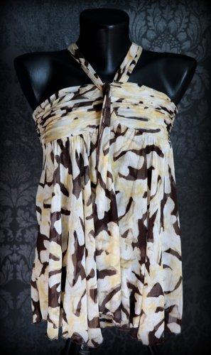 Diane von Furstenberg Silk Top beige-black brown silk