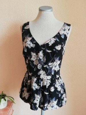 Seidentop Oasis neu Seide Top Oberteil schwarz rosa Blumen Vintage Gr. UK 8 EUR 36 D 34 XS