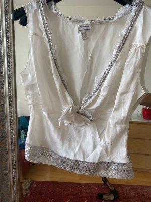 Philosophy Di Alberta Ferretti Jedwabny top w kolorze białej wełny-srebrny
