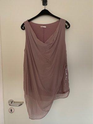 Top in seta rosa pallido-rosa antico