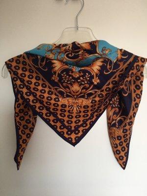 Foulard en soie brun-bleu clair