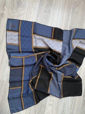 Vissona Sciarpa di seta oro-blu scuro