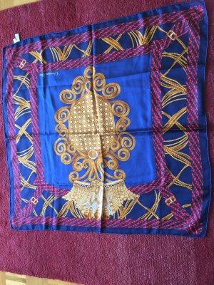 Christian Dior Bufanda de seda azul-color oro
