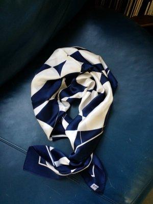 Silk Cloth white-dark blue silk