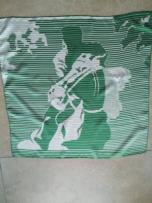 Foulard en soie blanc-vert gazon