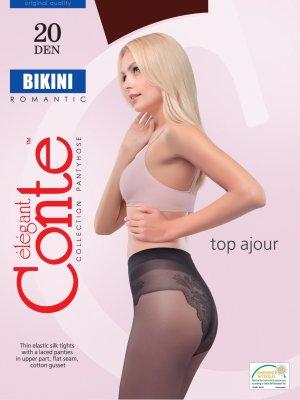 Seidig glänzende Feinstrumpfhose 20 Den mit Bikinislip Neu