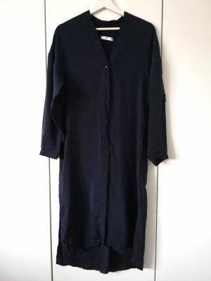 seidiges Hemdkleid Midilänge Nachtblau Mango
