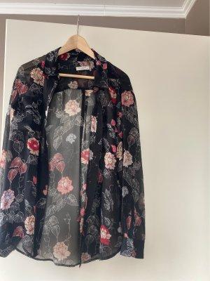 Equipment Lange blouse zwart-framboosrood