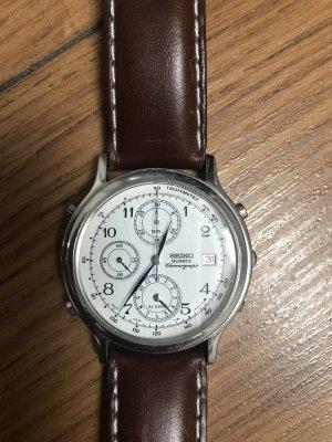 Seiko Horloge met lederen riempje zilver-bruin