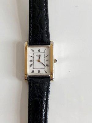 Seiko Gold Silber bicolor Leder Armband Uhr Tank Damen Uhr Lederarmband Lackleder