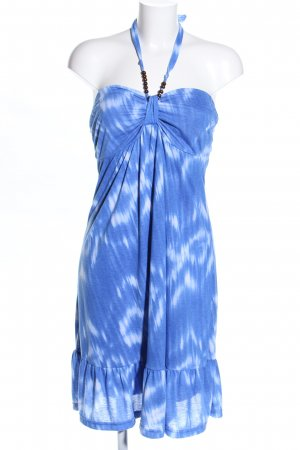 Vestido de cuello Halter azul-blanco estampado repetido sobre toda la superficie