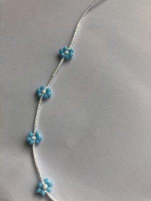 handmade Naszyjnik z perłami biały-jasnoniebieski
