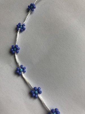 handmade Naszyjnik z perłami niebiesko-fioletowy-jasnoniebieski