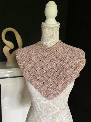 Selbst gemacht Sciarpa lavorata a maglia bianco sporco-rosa antico