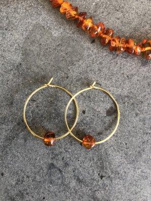 handmade Créoles orange-doré