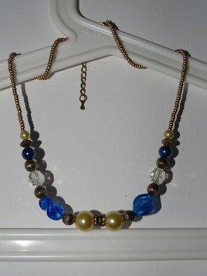 Collar de perlas multicolor metal