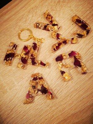 handmade Porte-clés doré-rouge foncé