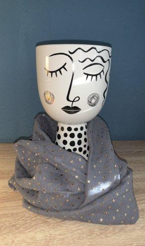 Handmade Bufanda tubo gris-color oro