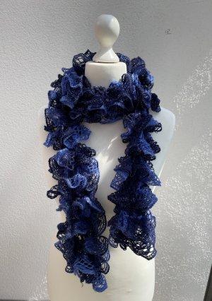 Wełniany szalik ciemnoniebieski-chabrowy