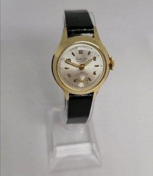 Selecta Zegarek ze skórzanym paskiem czarny-złoto