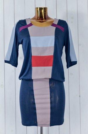 Selected Femme Damen Kleid Stretch Mehrfarbig Blau Beige Bunt Rundhals Gr.38