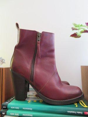 Selected Femme Gr. 39 Leder Stiefelette Burgundy Rot Ankle Boots