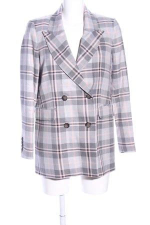 Selected Femme Kurz-Blazer hellgrau-pink Karomuster Business-Look