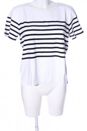 Selected Femme Kurzarm-Bluse weiß-schwarz Streifenmuster Casual-Look