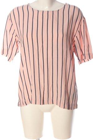 Selected Femme Kurzarm-Bluse pink-schwarz Streifenmuster Casual-Look