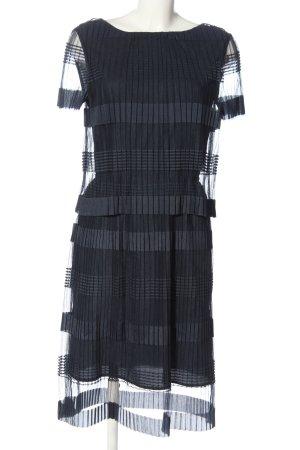 Selected Femme Kurzarmkleid schwarz Streifenmuster extravaganter Stil