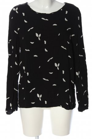 Selected Femme Langarm-Bluse schwarz-weiß Allover-Druck Casual-Look