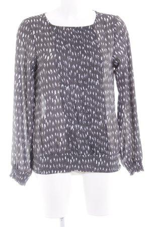 Selected Femme Langarm-Bluse dunkelgrau-weiß abstraktes Muster Casual-Look