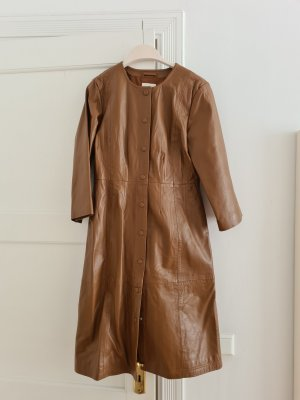 Selected Femme Leather Coat brown-cognac-coloured leather