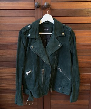 Selected Femme Lederjacke  Bikerjacke Forest green trend suede leather bomberjacke blazer