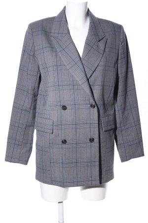 Selected Femme Long-Blazer hellgrau-blau Karomuster Business-Look