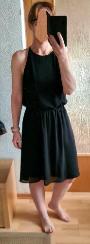 Selected Femme Midi Kleid Knielang Neckholder Sommerkleid schwarz 36 Neuwertig
